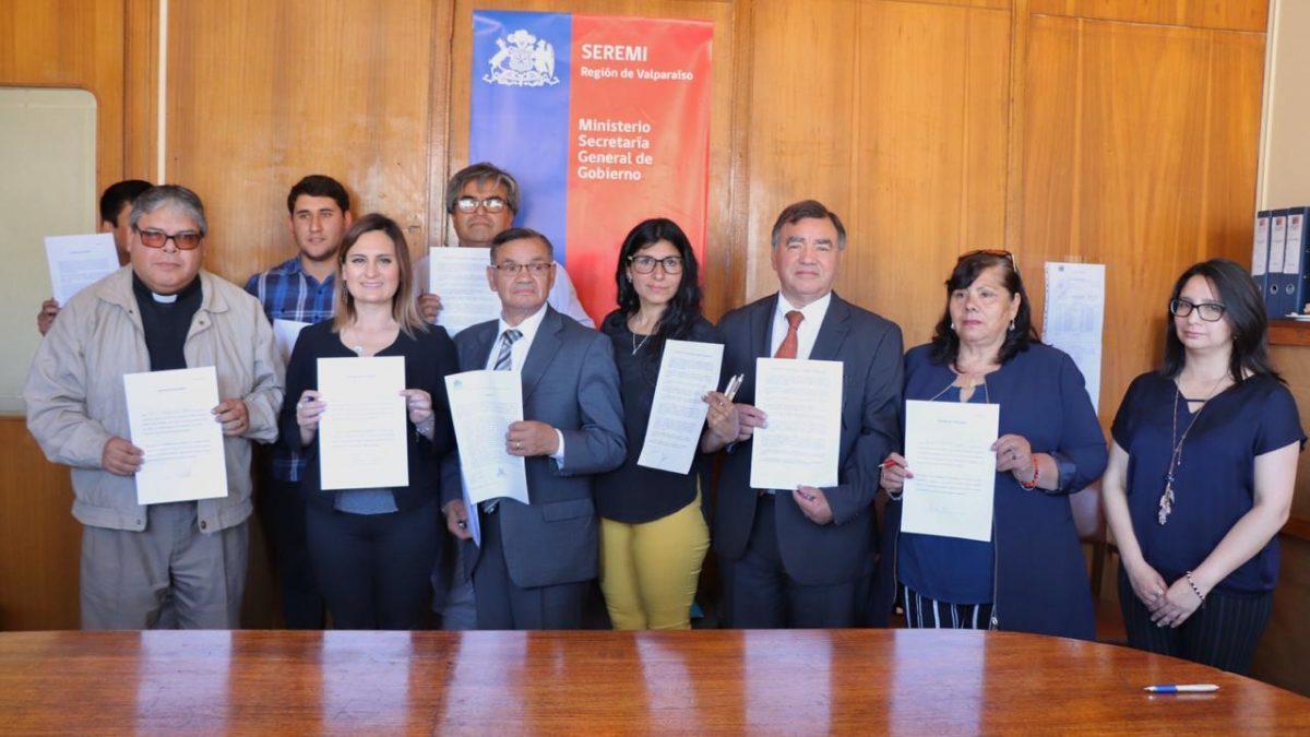 Dirigentes vecinales y representantes de la Iglesia Evangélica y Católica se suman al Acuerdo por la Paz Social en Valparaíso.