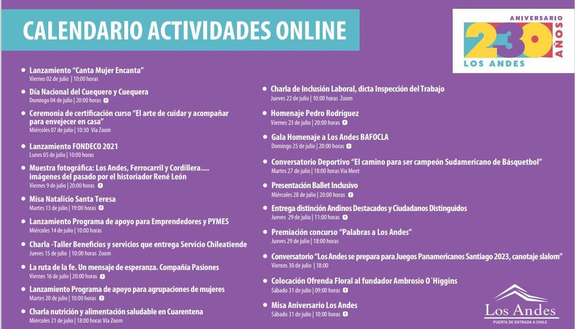 Los Andes celebra 230 años con actividades online